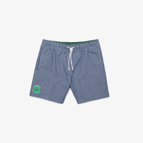 Men's Mid-length Gingham Check Cotton Blend Swimming Trunks