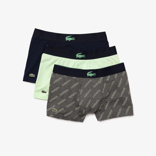 Pack Of 3 Plain And Printed Casual Boxer Briefs