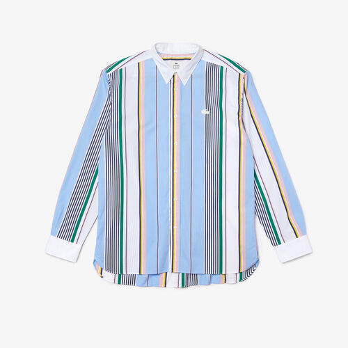 Men's Lacoste Live Relaxed Fit Mismatched Stripes Cotton Shirt