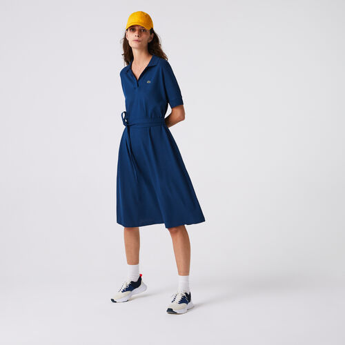 Women's V-neck Fitted Flowy Piqué Polo Dress