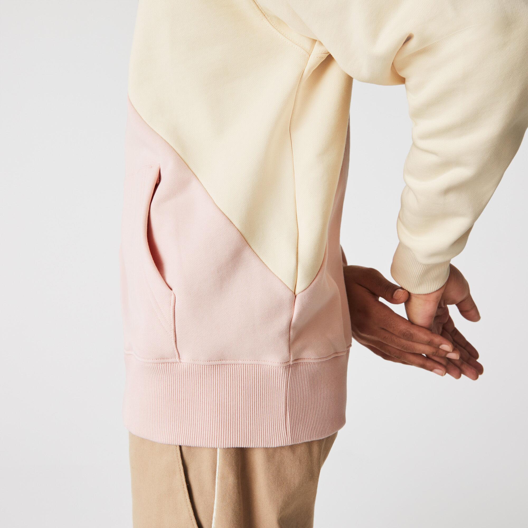 Unisex Lacoste LIVE Loose Fit Hooded Bicolour Fleece Sweatshirt
