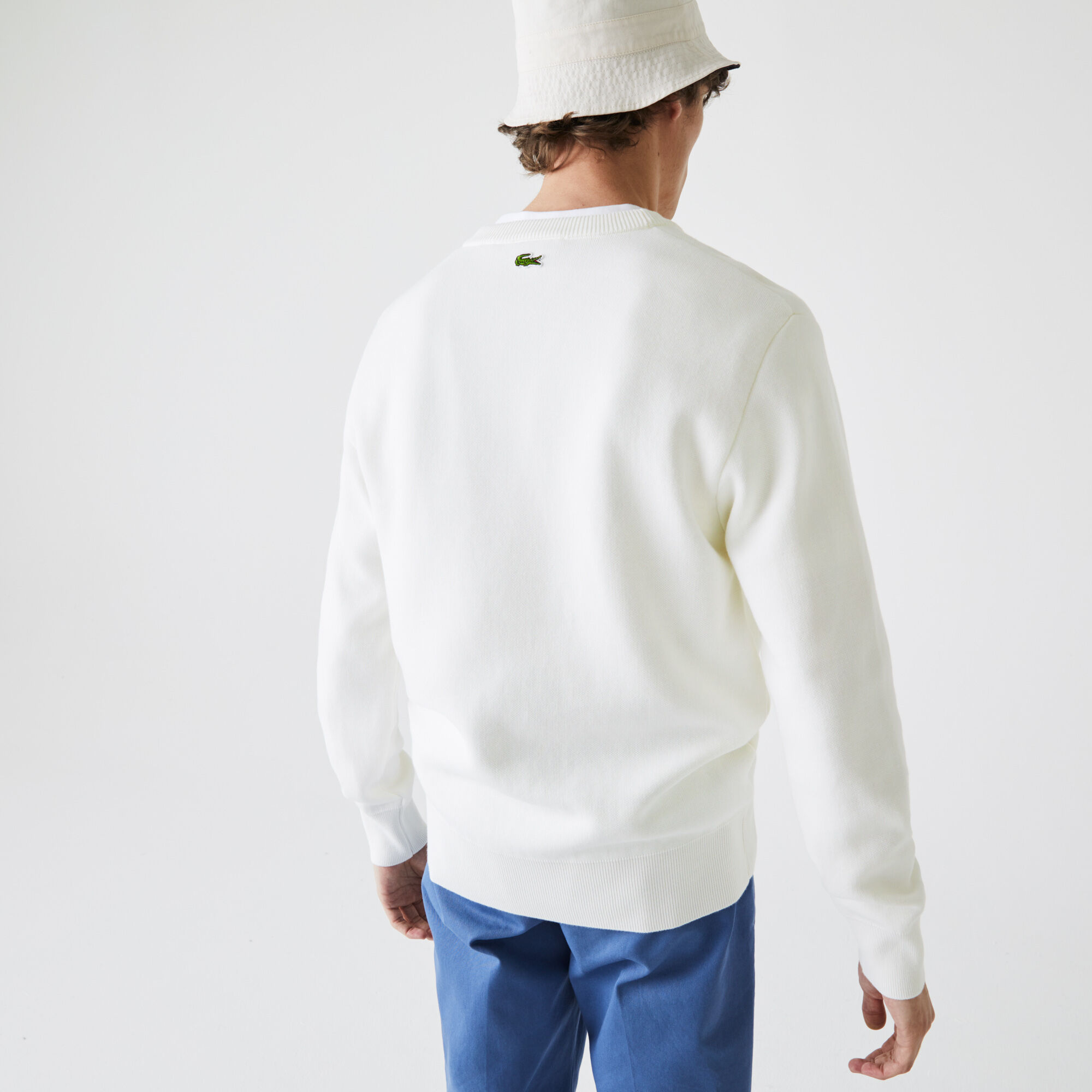Men's Made In France Crew Neck Embroidered Stretch Cotton Sweater
