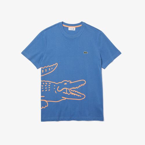 Men's Crew Neck Crocodile Print Organic Cotton T-shirt