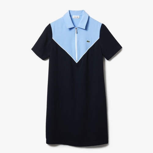Women's Flowy Zip Collar Colorblock Polo Dress