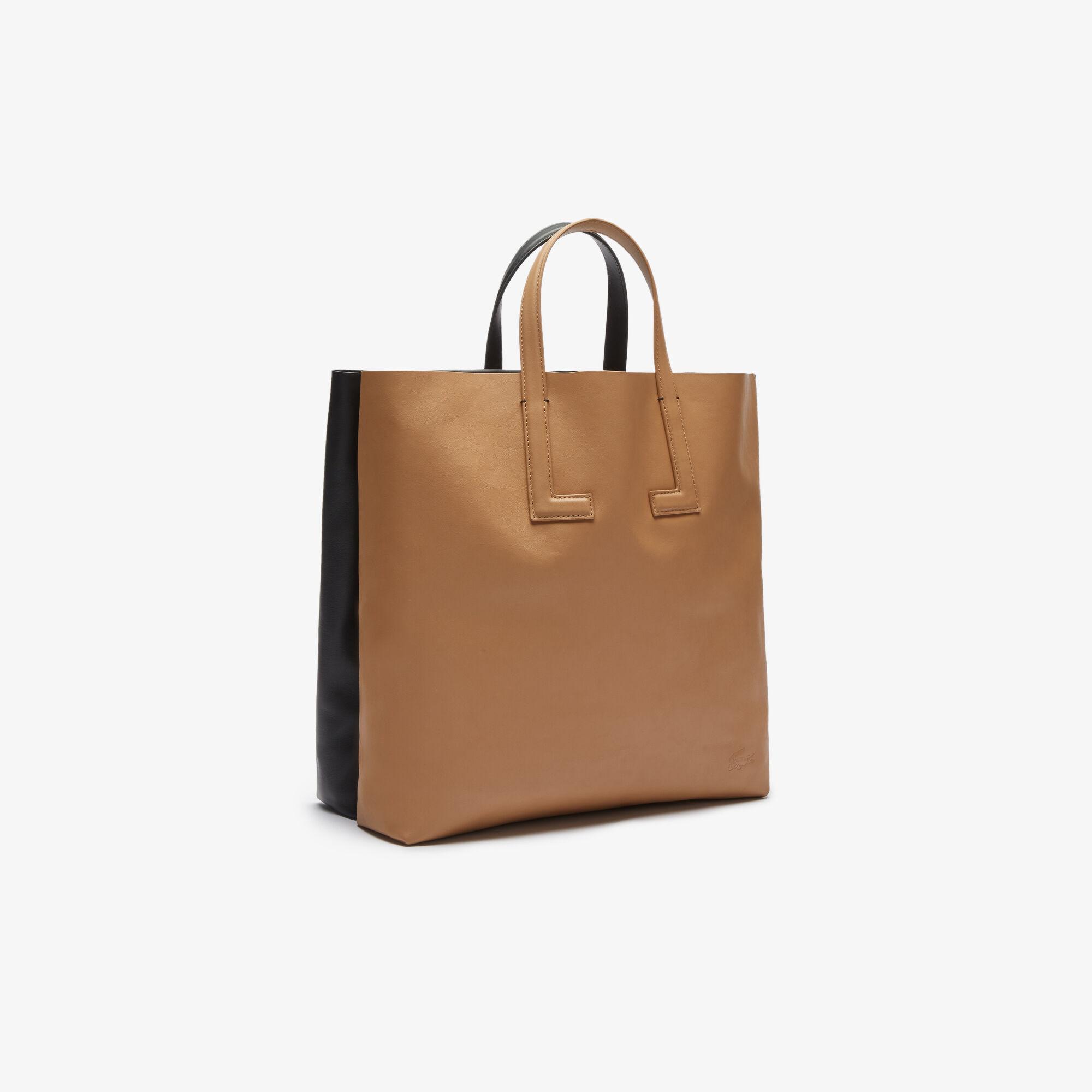 حقيبة توت مزدوجة من الجلد بلونين مجموعة Fashion Show للنساء