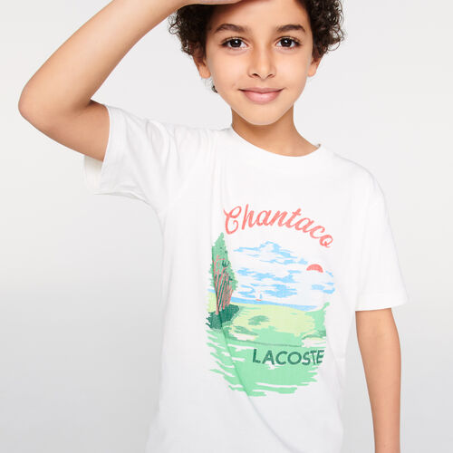 Boys' Crew Neck Chantaco Print Cotton T-shirt