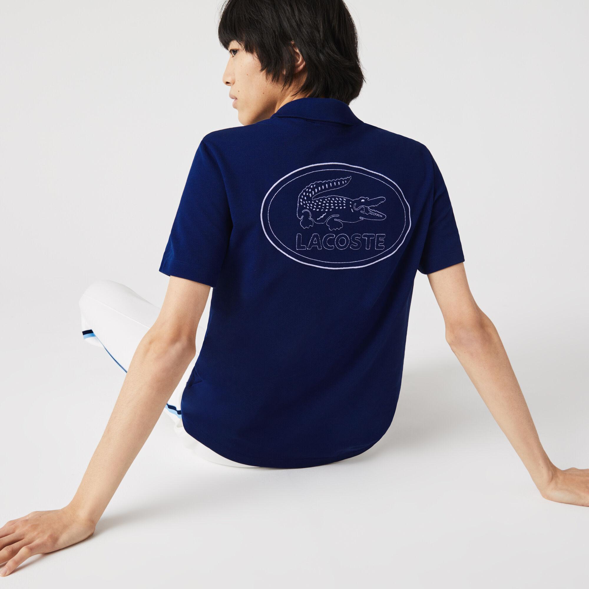 قميص بولو من بيكيه القطن للرجال شعار مطرز وقصة عادية