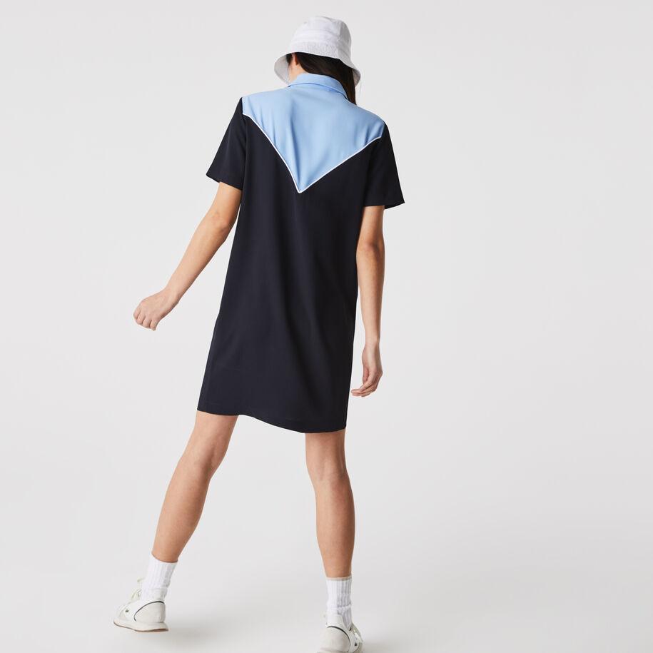 Women's Flowy Zip Collar Colorblock Polo Dress