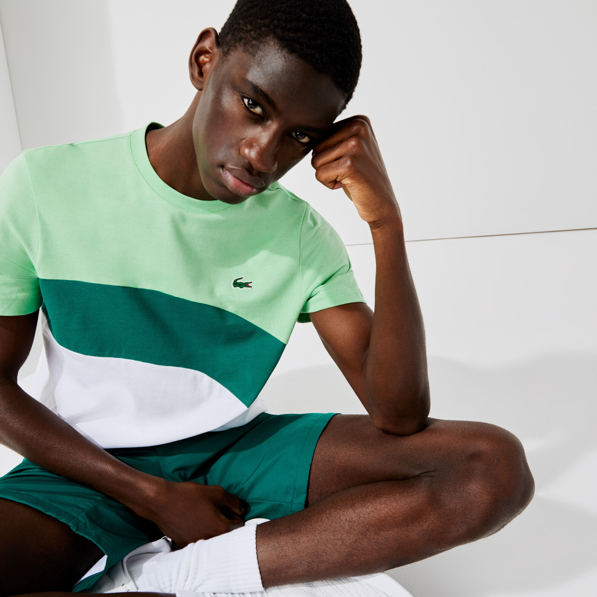 Men's Lacoste SPORT Ultra-Light Colourblock Cotton Tennis T-shirt