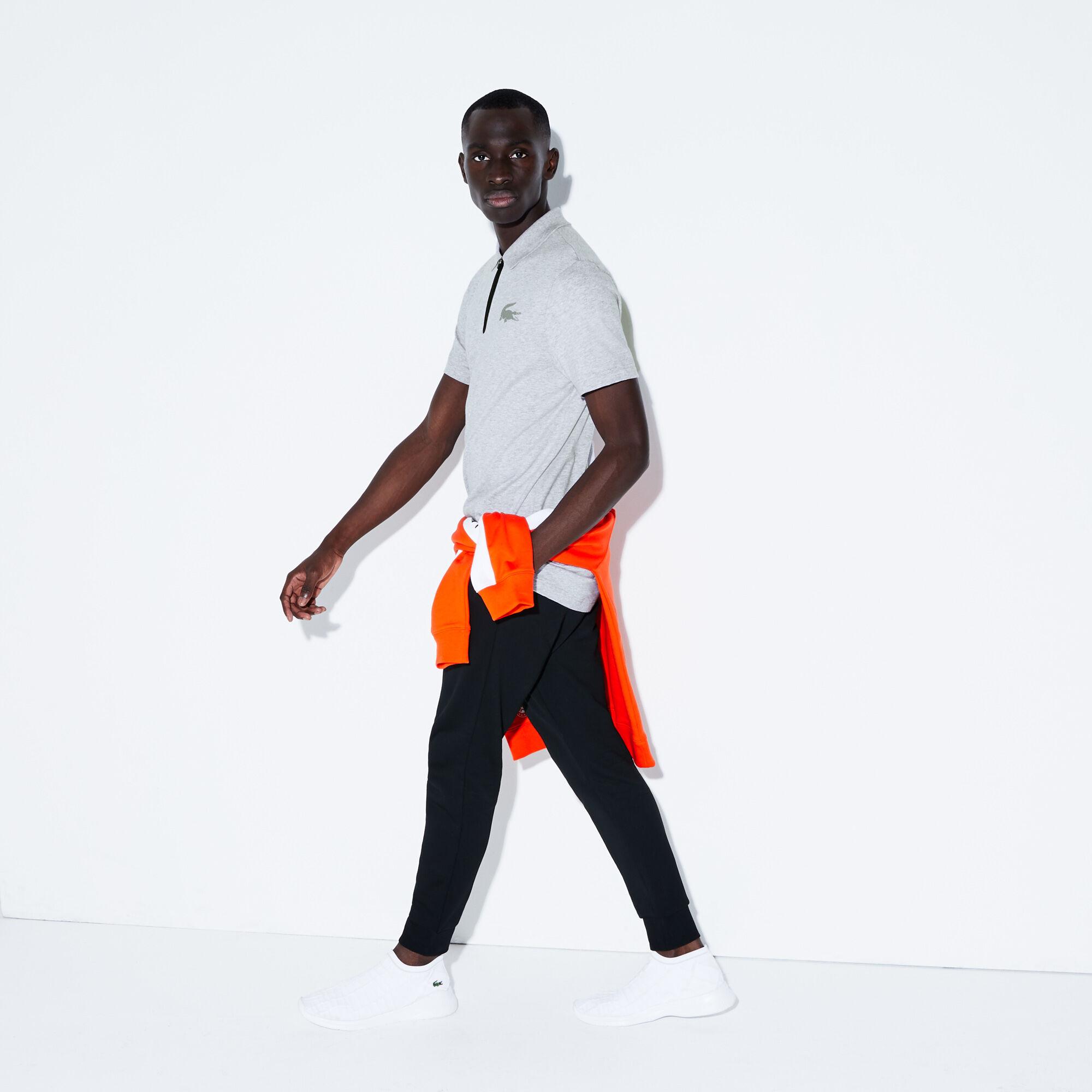 قميص بولو قطني للرجال بسحاب عند الياقة وعلامة التمساح المجسمة من مجموعة Lacoste SPORT