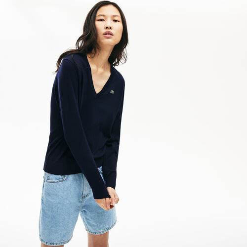 Women's Solid Cotton V-neck Sweater