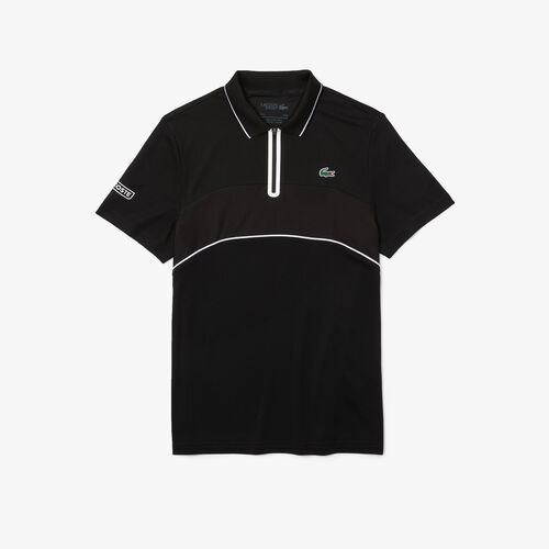 Men's Lacoste Sport Breathable Resistant Piqué Zip Tennis Polo Shirt