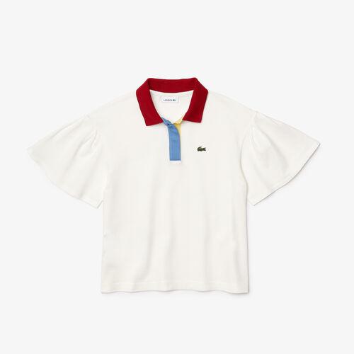 قميص بولو Lacoste للفتيات من القطن بأكمام مكشوفة ومريح