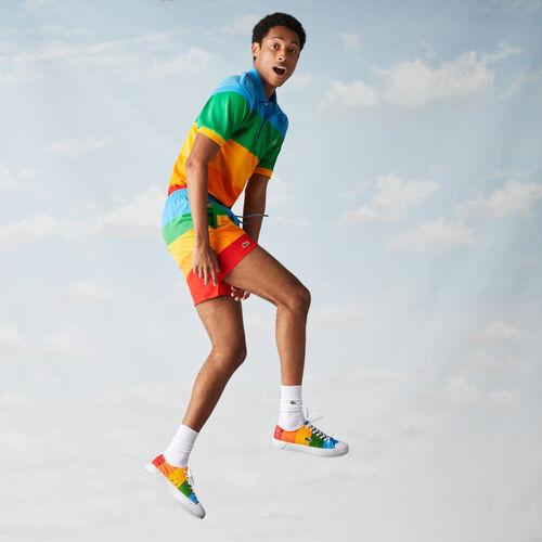 Men's Polaroid Collaboration Color Striped Swimming Trunks