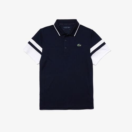 Men's Lacoste Sport Striped Sleeves Breathable Piqué Tennis Polo Shirt