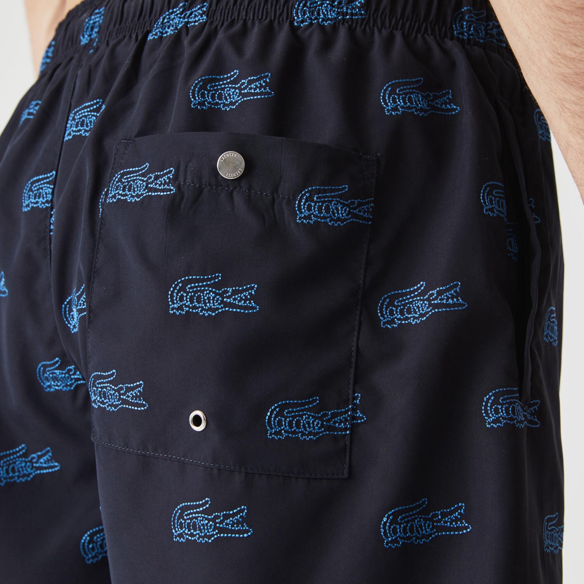 Men's Embroidered Crocodile Design Swimming Trunks