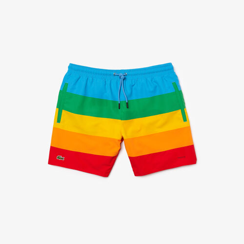 Men's Polaroid Collaboration Color Striped Swimming Trunks
