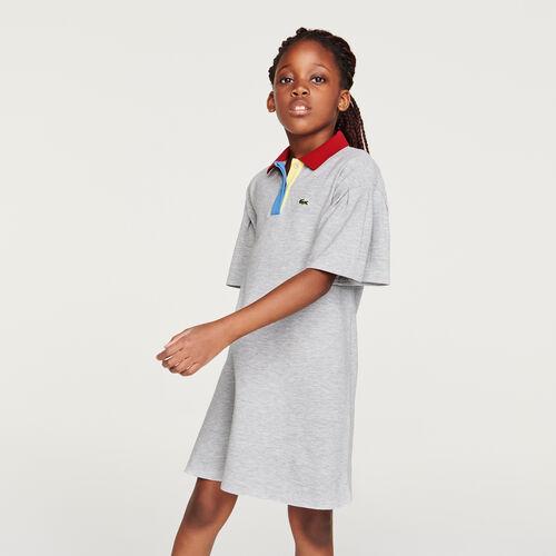 فستان بولو قطن بأكمام واسعة للفتيات