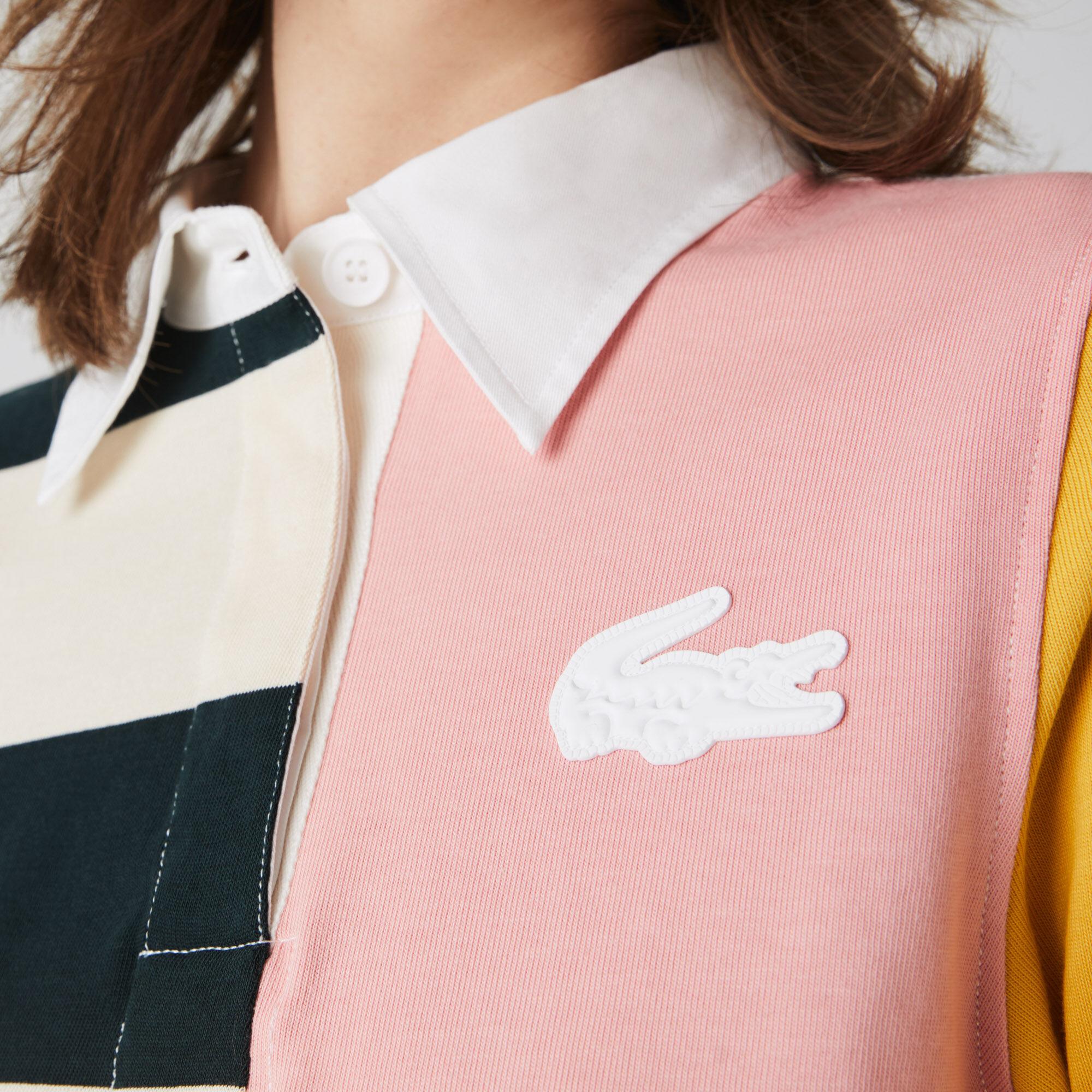 قميص بولو قطني للنساء تصميم الرجبي بكتل لونية مجموعة Lacoste LIVE